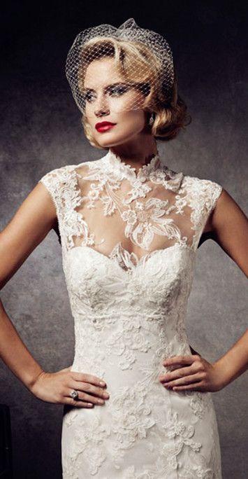 20s Inspired Waves With A Birdcage Veil Look Super Elegant Wedding Dresses Lace Wedding Veils Lace Natural Waist Wedding Dress