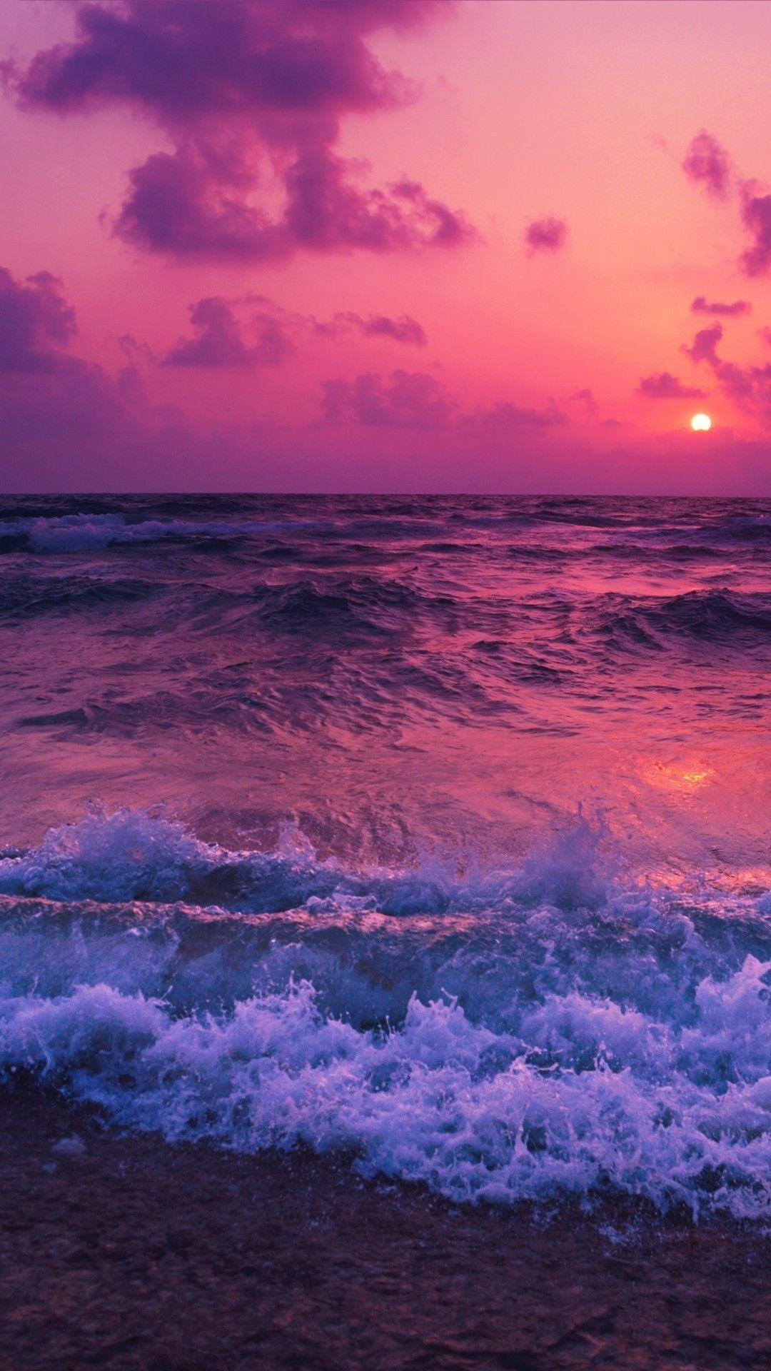 Ocean Sunset Waves Foam Beach Sunset Wallpaper Sky Aesthetic Beach Wallpaper