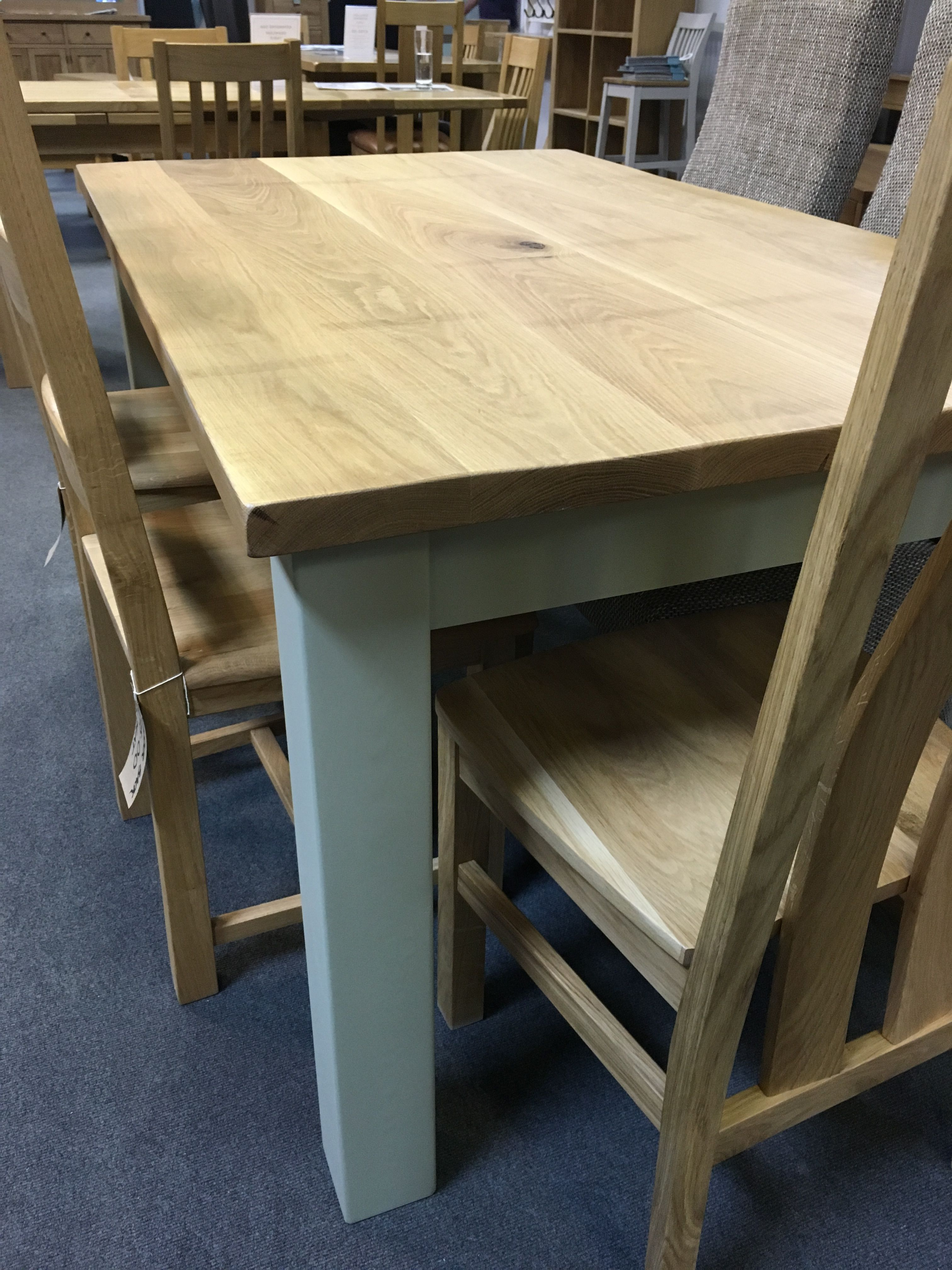Rustic Oak Table With A Base Painted In F B French Gray Bespoke