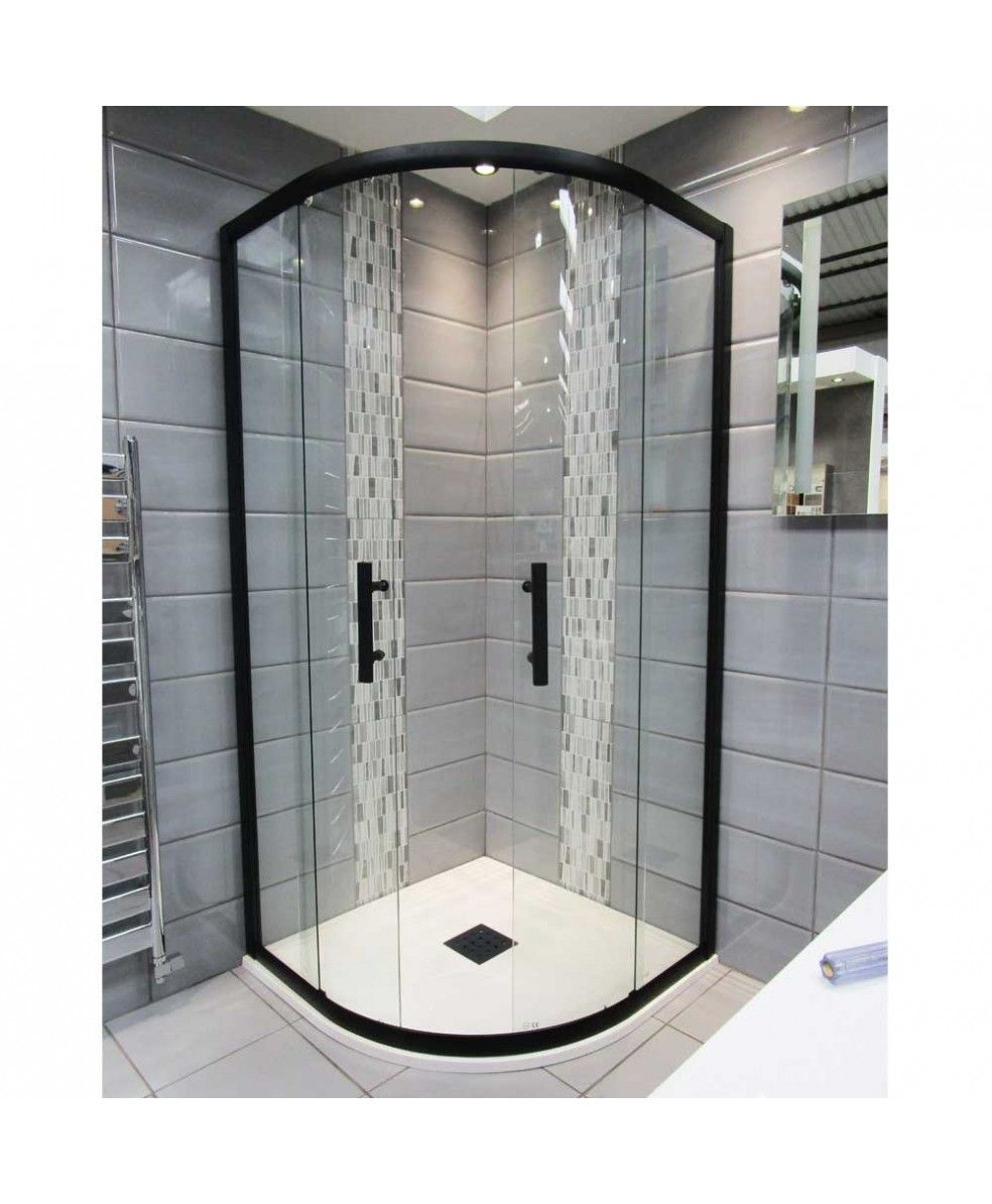 1200mm X 900mm Double Sliding Door Black Offset Quadrant Shower Enclosure And Shower Tray Includes Free Shower Tray Waste In 2020 Quadrant Shower Quadrant Shower Enclosures Shower Enclosure