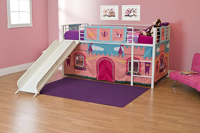 Amazon Com Dhp Princess Castle Design Curtain Set For Junior Loft Bed Kids Furniture Pink Kitchen Dining Loft Bed Twin Loft Bed Junior Loft Beds