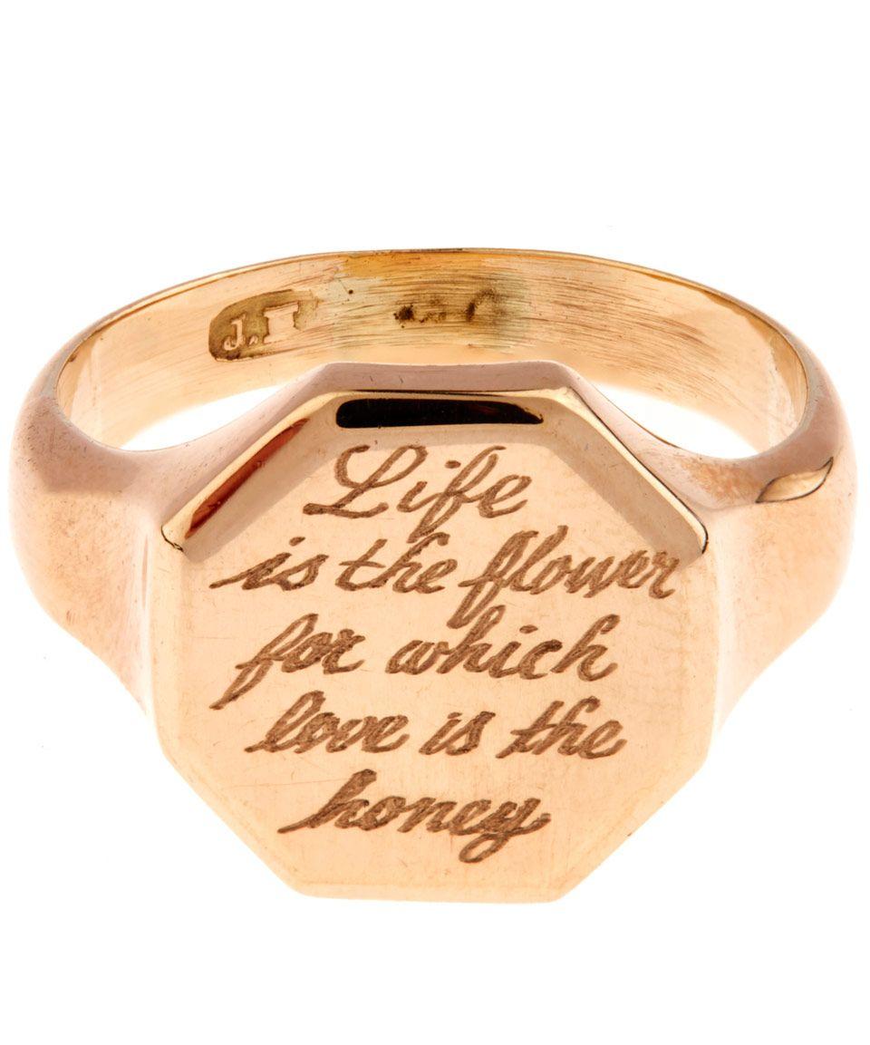 be1bfce24714c Annina Vogel Gold Engraved Hexagonal Signet Ring   Jewellery ...