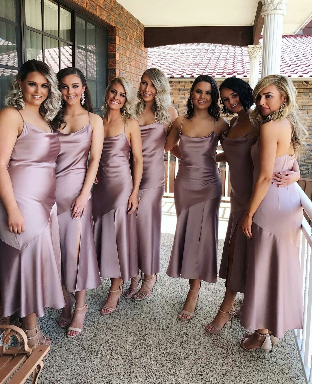 Simple Satin Short Mermaid Bridesmaid Dress 2018 Sexy Spaghetti Straps Slit Wedding  Guest Gowns Tea Length