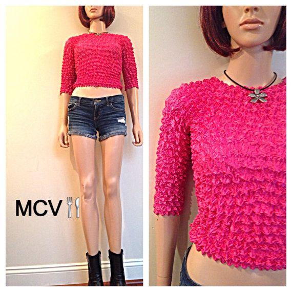 Neon Orange /& Pink Fishnet String Crop Top Club Kid Grunge