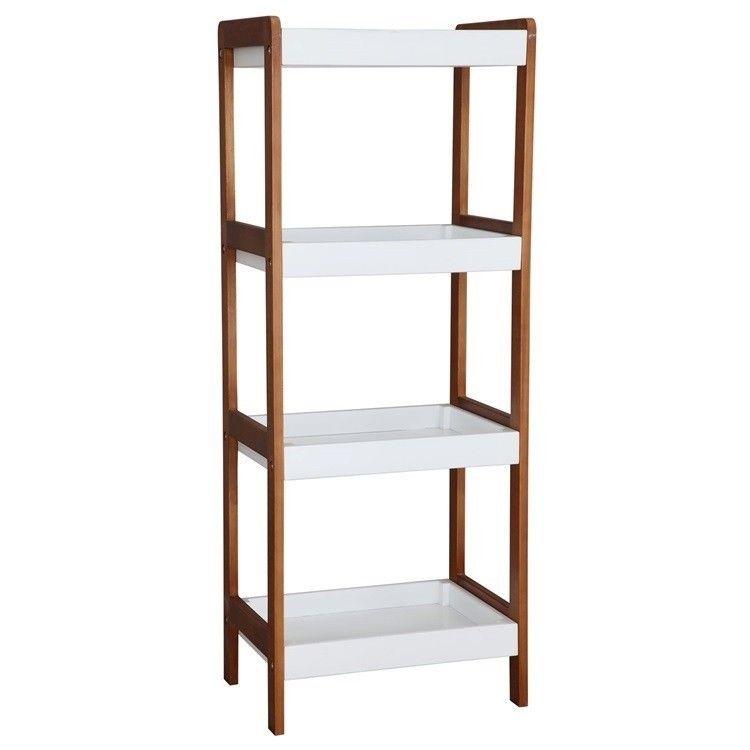 NEG Badezimmer-Regal ALACENA (braun weiß) 4 Fächer (104cm) Bad - kommode für badezimmer