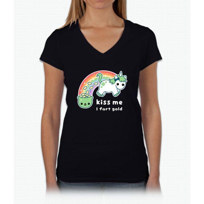 St. Patrick's Day Unicorn Womens V-Neck T-Shirt