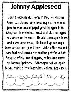 picture relating to Johnny Appleseed Printable Story identified as johnny appleseed information video game internet pages - Precisely Reed: Apple