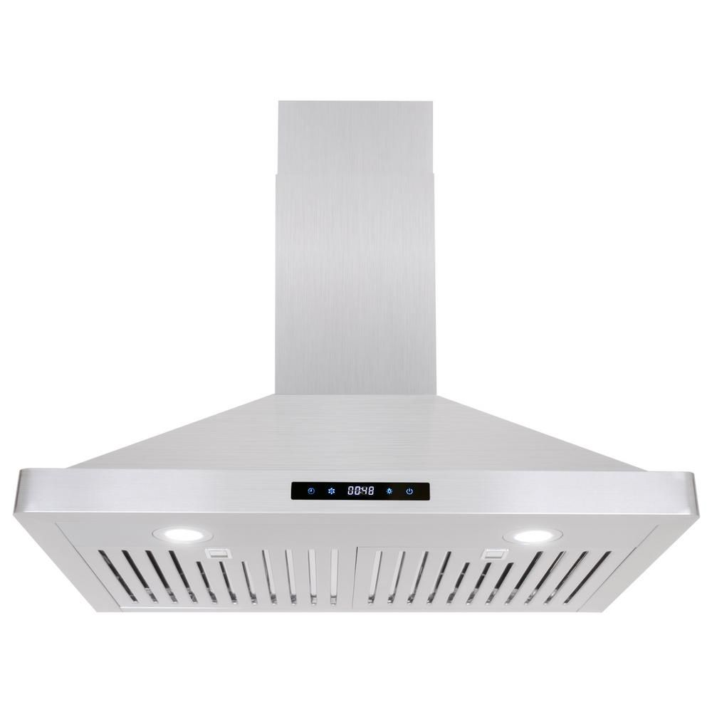 Cosmo 30 In Ducted Wall Mount Range Hood In Stainless Steel Silver With Touch Controls Led Lighting And Wall Mount Range Hood Ducted Range Hood Range Hood