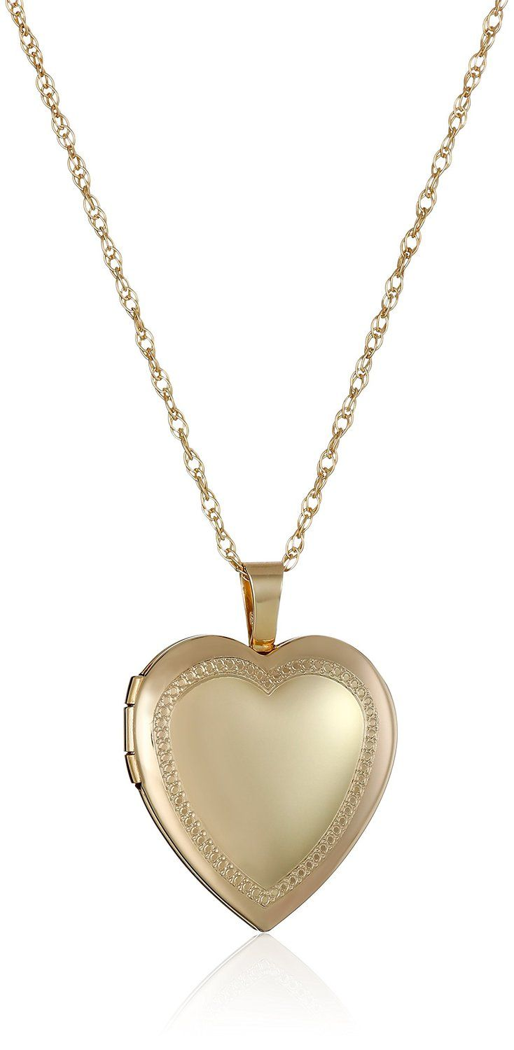 K goldfilled heart millgrain edge locket necklace