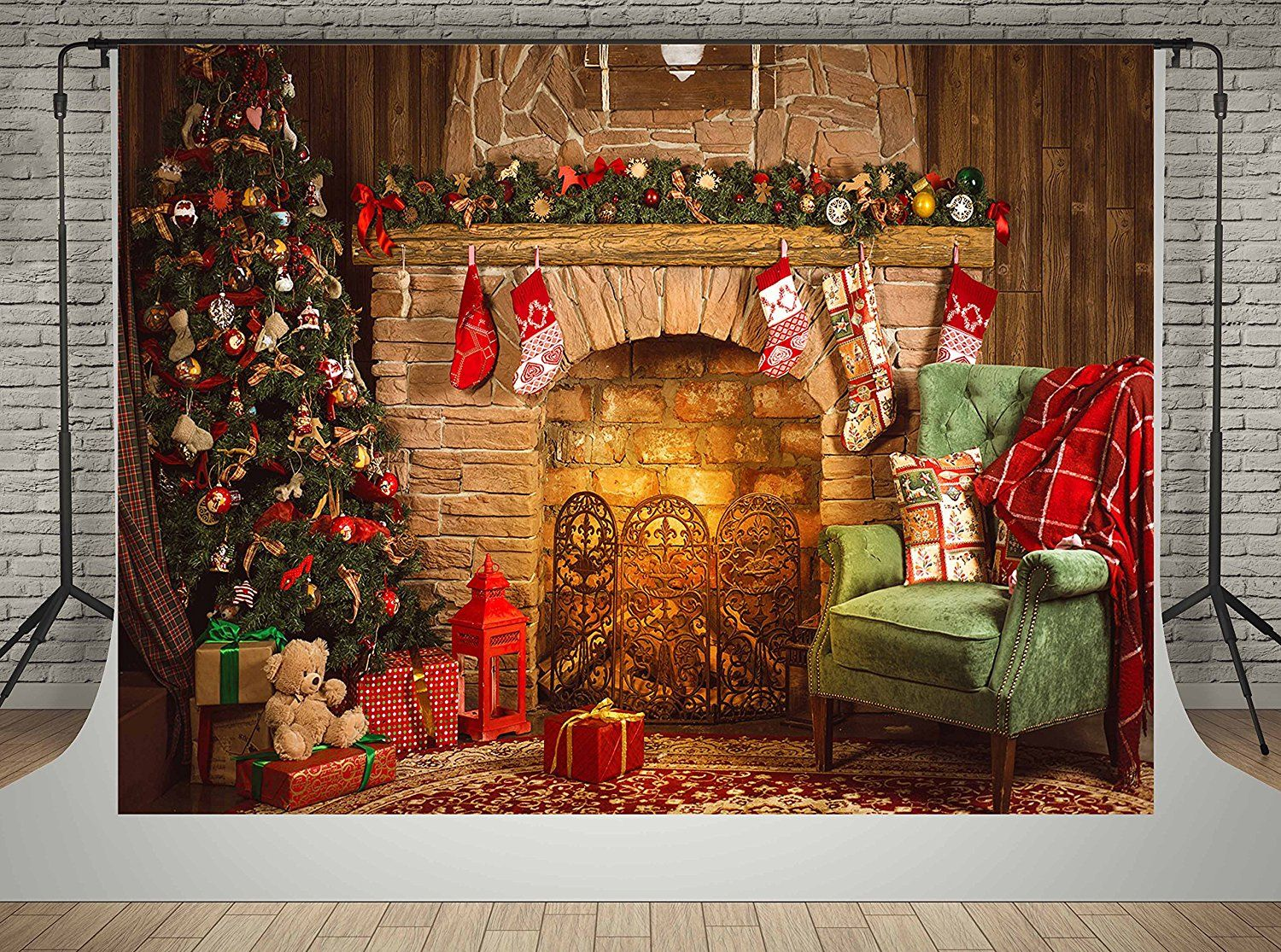 Amazon Com Microfiber Material Backdrops For Photographer Brick Fireplace Background Nig Christmas Backdrops Christmas Tree And Fireplace Christmas Fireplace