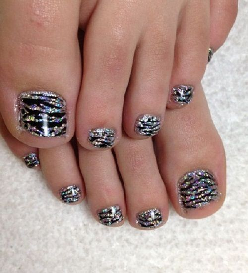 Black Lines With Silver Glitters Toe Nail Designs Glitter Toe Nails Toe Nail Designs Glitter Toes