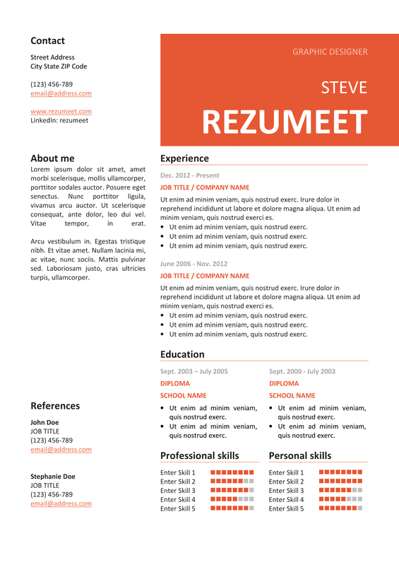 Peckham  Free Resume Template  Orange  Classic Resume Templates