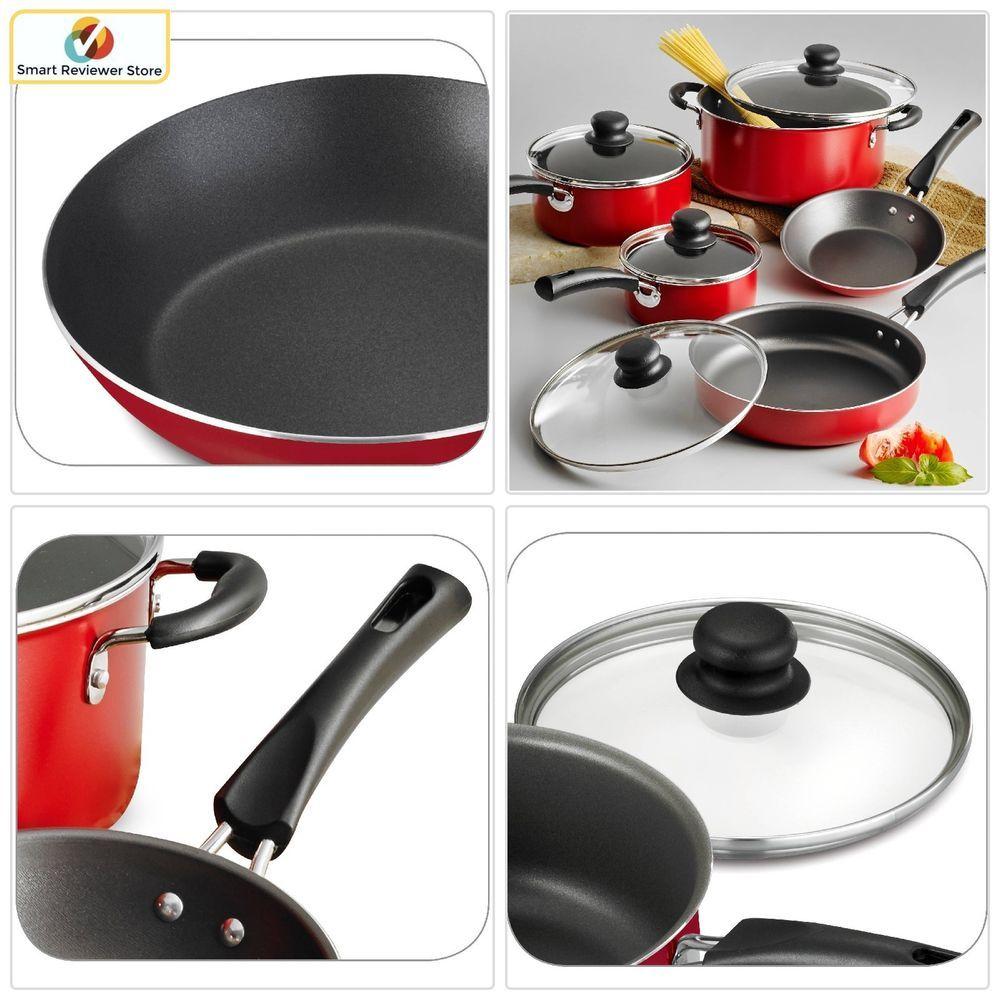 9 Piece Nonstick Coated Pots Pans Cookware Carbon Steel Set