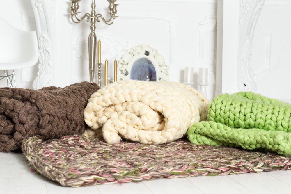 Bereit Schiff Merino Wolle Decke 60 X 80 Von Hand Knittted
