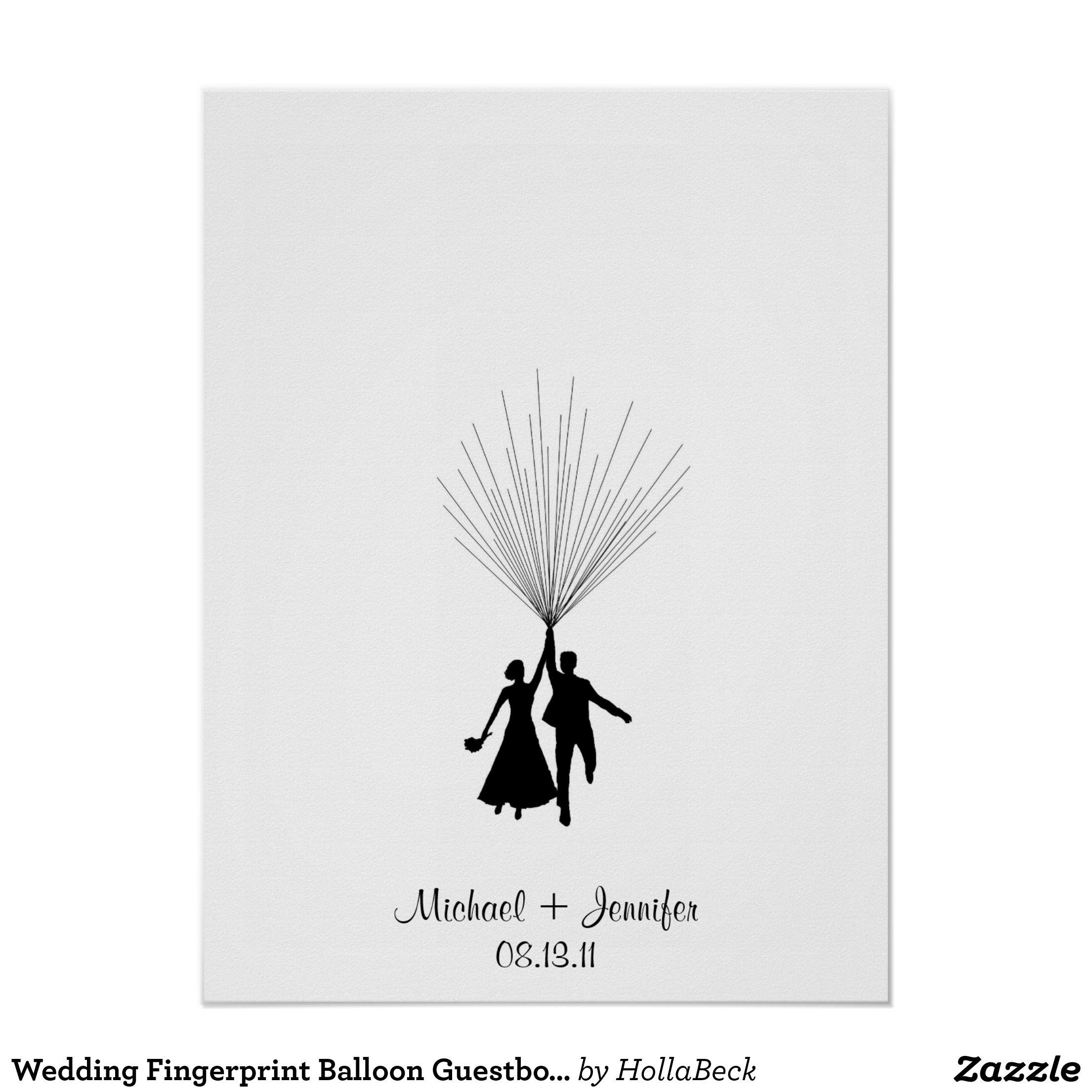 Hochzeits-Fingerabdruck-BallonGuestbook Poster | Fingerabdrücke ...