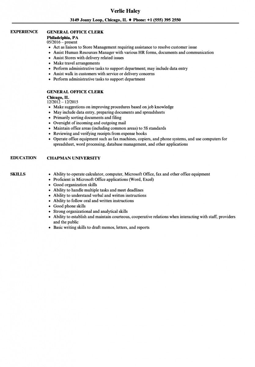 13 Workplace Clerk Resume Pattern in 2020 Office job