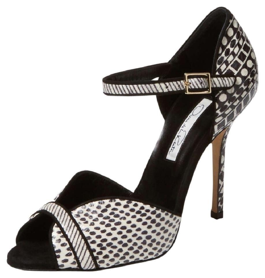 2247a4311a1b Oscar de la Renta Christina Watersnake Ankle Strap Black/white Pumps