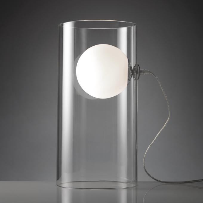 Lampada o977 lampada da tavolo clear con base cilindrica in vetro trasparente dimensioni diam - Dimensioni tavolo biliardo casa ...