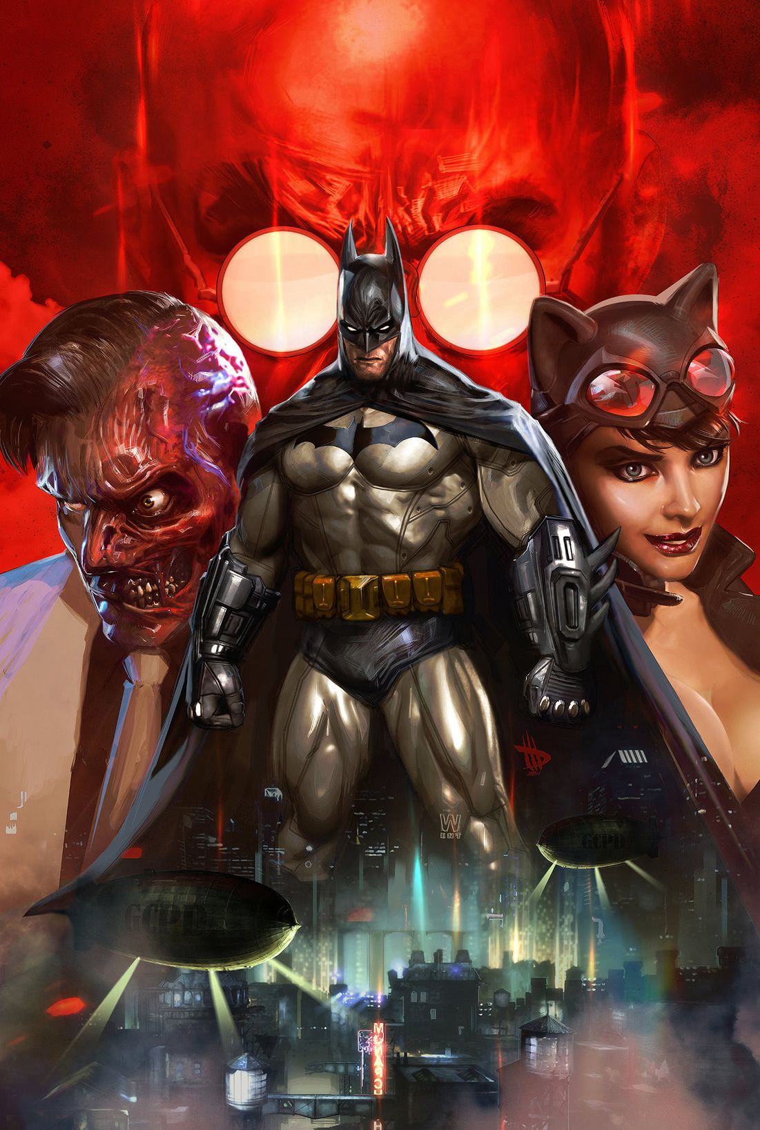 Batman, Two-Face & Catwoman by Dave Wilkins