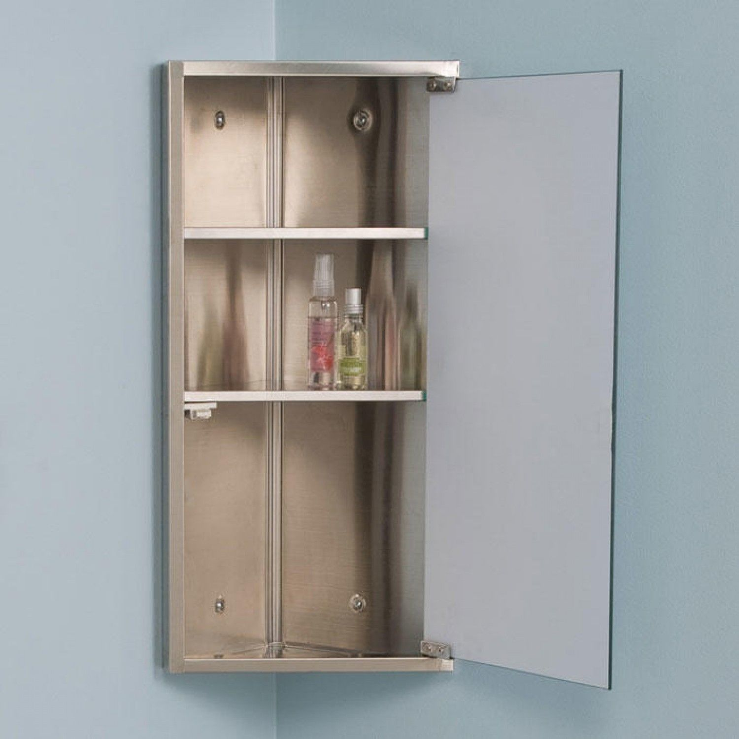 Kugler Stainless Steel Corner Medicine Cabinet With Mirror