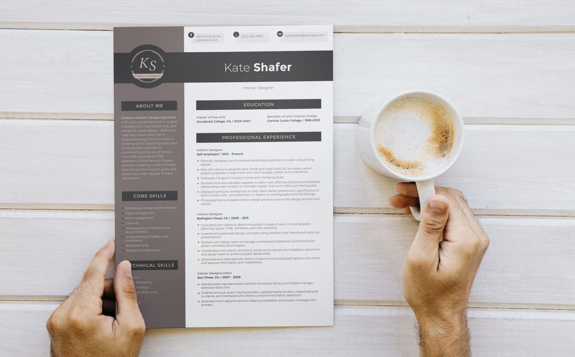 Kate Shafer Interior Designer Resume Template 65249 With