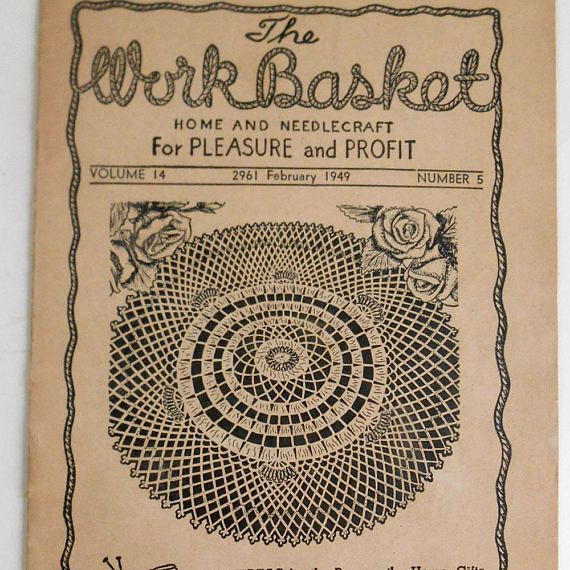 Vintage February 1949 Workbasket Magazine Crochet Knit Hat