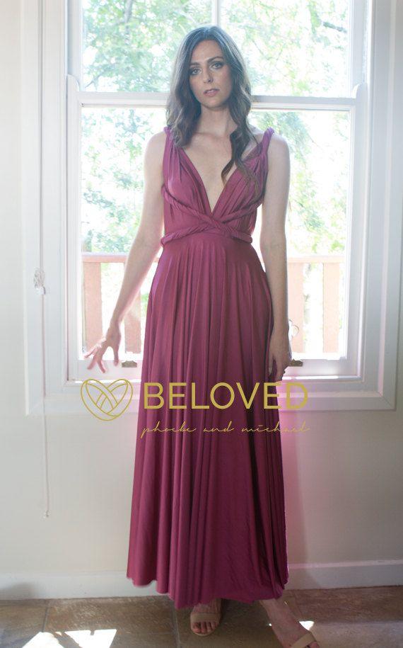 a8311b3a3ed6 Aubergine Dark Rose Orchid Bridesmaid Dress - Convertible Infinity Dress  full circle dress #madetoorder #