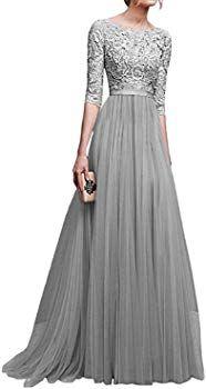 minetom damen frauen brautjungfernkleid lang abendkleider mit spitze 2/3 Ärmel brautkleid