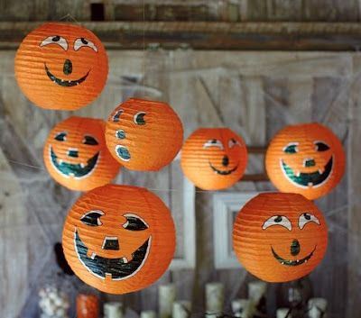 So easy and adorable!!  Pottery Barn Knock-Off: Hanging Pumpkin Jack O Lanterns Halloween Decorations