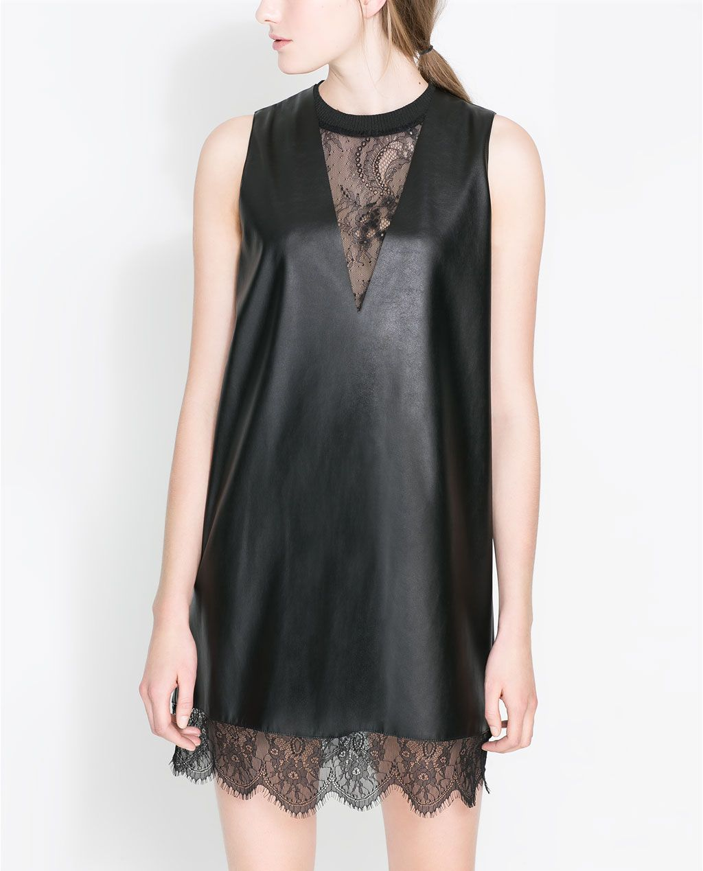 Image 2 of FAUX LEATHER DRESS WITH LACE from Zara