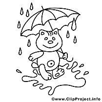 teddy unter dem regenschirm - kostenlose herbst malvorlage