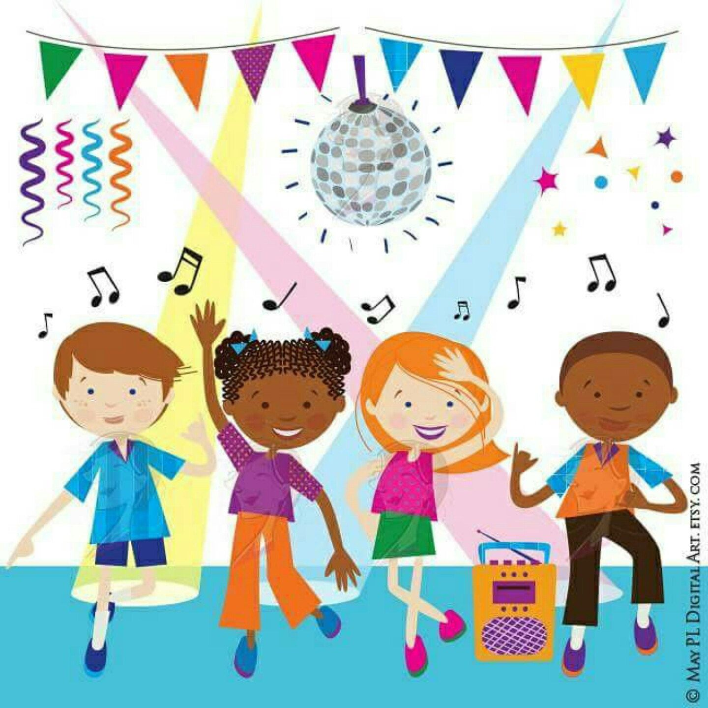 Dance Clipart Disco Kids Party Children Boy Dancing Cute Vector Commercial Use Graphics Celebration Fun Funky Ilration Png 10704
