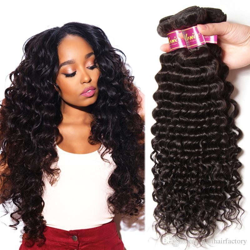Deep Wave Hair Weave Brazilian Human Hair 100 Unprocessed Natural
