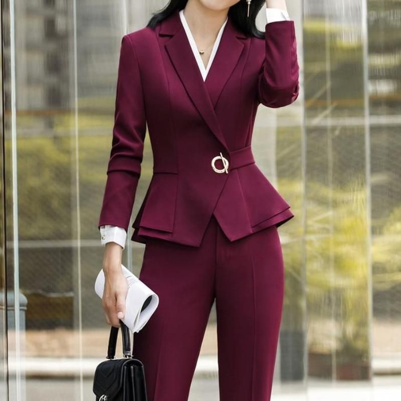 Blazer Ladies Coat Pant Suit