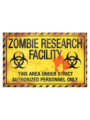 Zombie Research Facility Metal Sign Witchy/spooky crafts - halloween club decorations