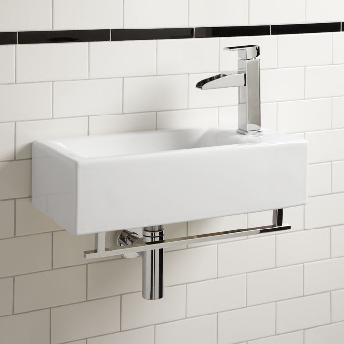 Photos: Leiden Wall Mount Sink With Towel Bar | Signature Hardware  Celebrate The Small Bathroom
