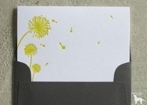 Modern Dandelions Notecard Set Note Cards Letterpress