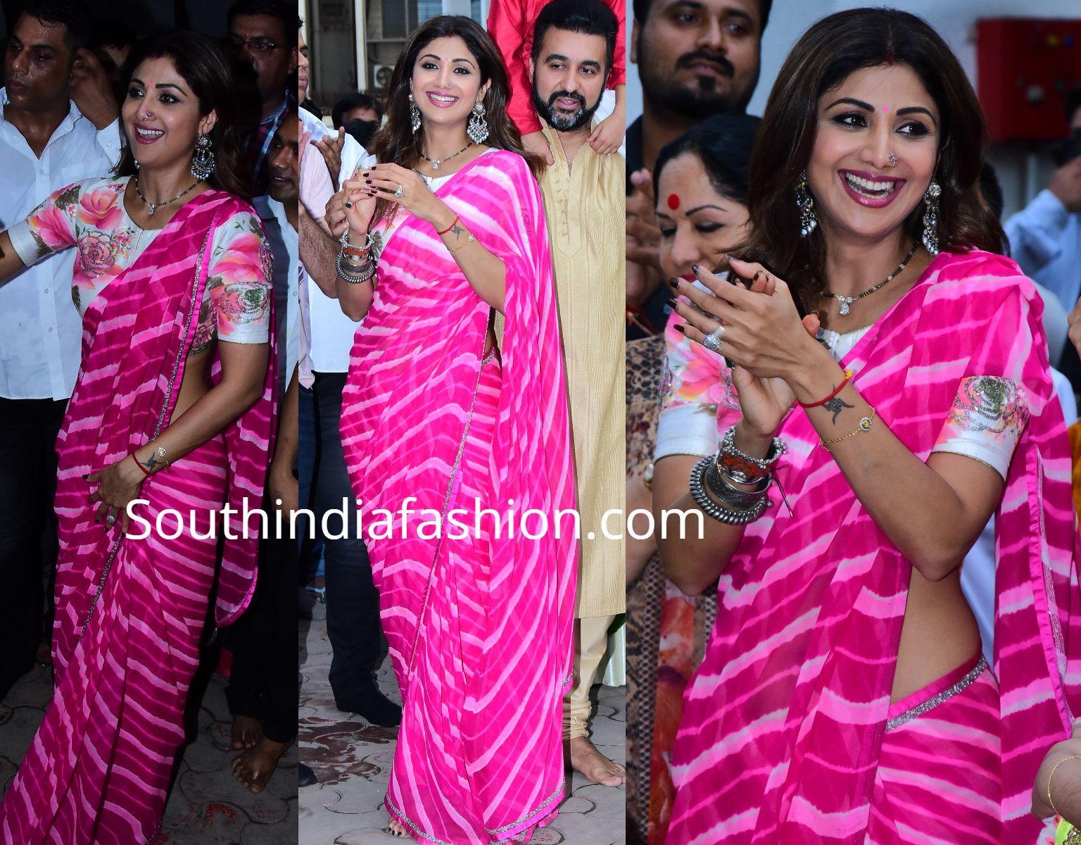 Shilpa Shetty in a leheriya saree at Ganesh Visarjan – South India Fashion -   - #EmmaRoberts #Fashion #FashionDesigners #Ganesh #India #leheriya #Saree #Shetty #Shilpa #ShilpaShetty #South #VictoriaBeckham #Visarjan