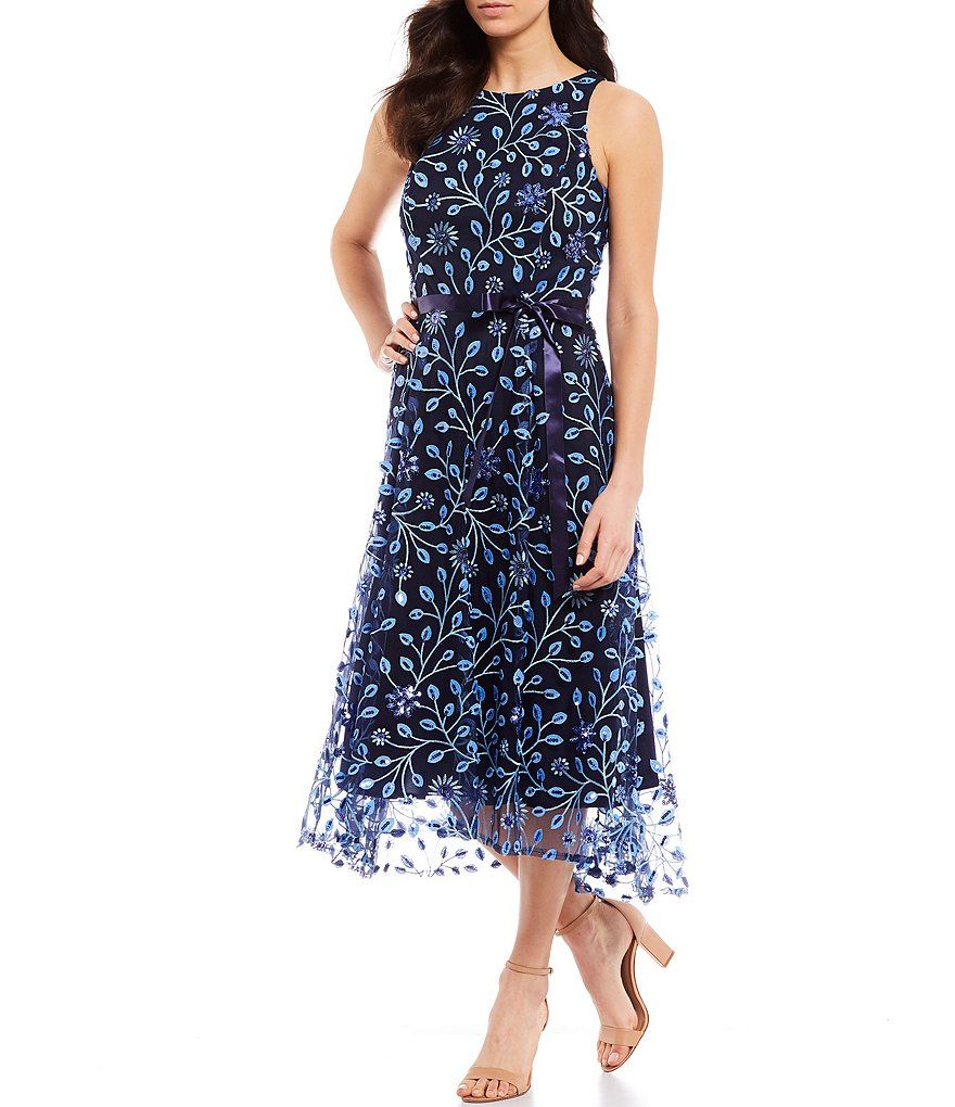 Tahari Asl Embroidered Floral Sleeveless Satin Sash Midi Dress Dillard S In 2020 Midi Length Formal Dresses Midi Dress Dresses