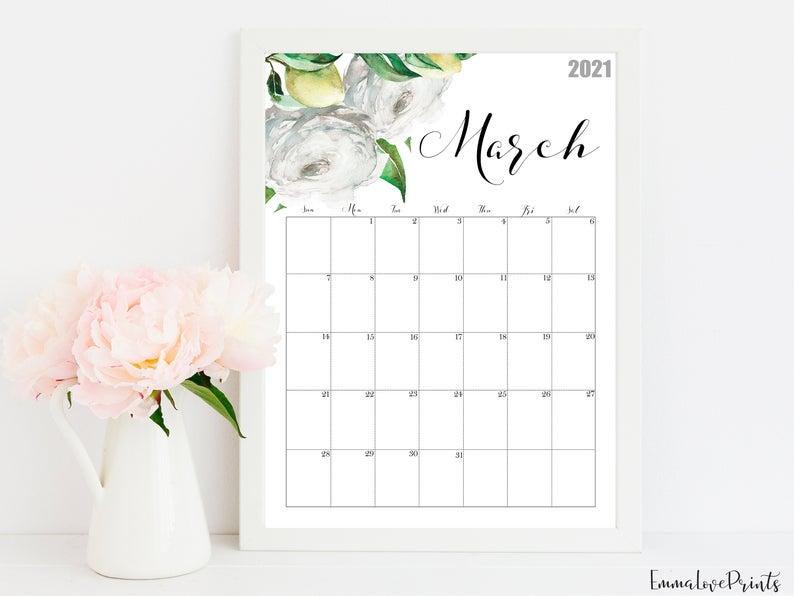2021 Calendar Watercolour Calendar 2021 Botanical Wall Etsy Wall Calendar Watercolor Calendar 2021 Calendar