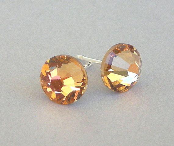 Light Colorado Topaz stud earrings, Swarovski crystal light brown posts, 7mm on Etsy, $7.20