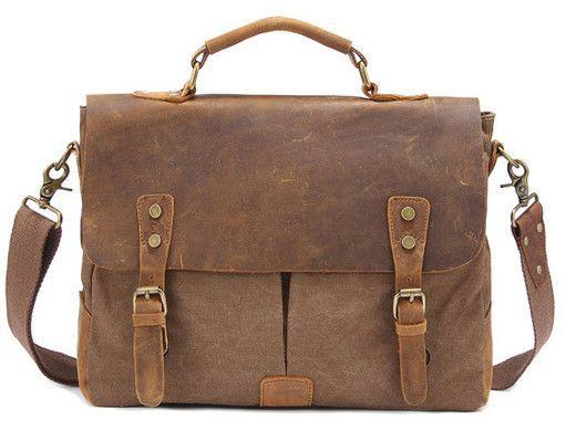 Vintage Crossbody Bag Military Canvas + Leather shoulder bags Men messenger bag men leather Handbag tote Briefcase Leisure bag