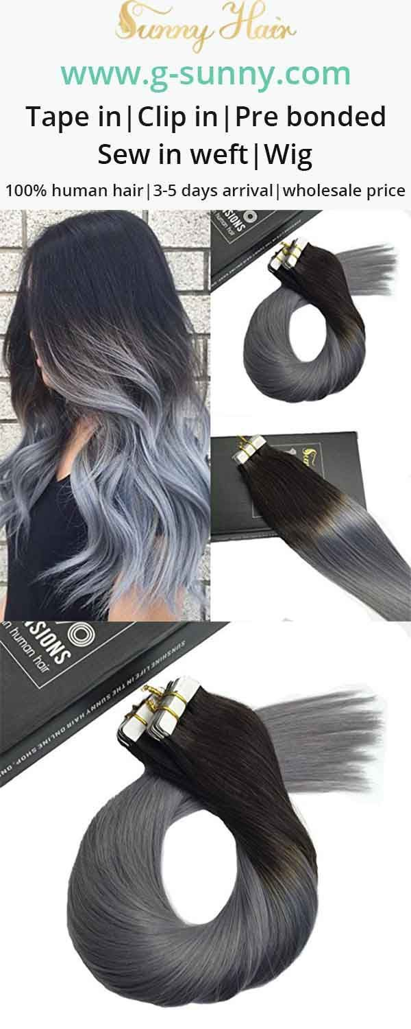 Sunny Hair Tape In Human Hair Extensions Black To Grey Ombre G