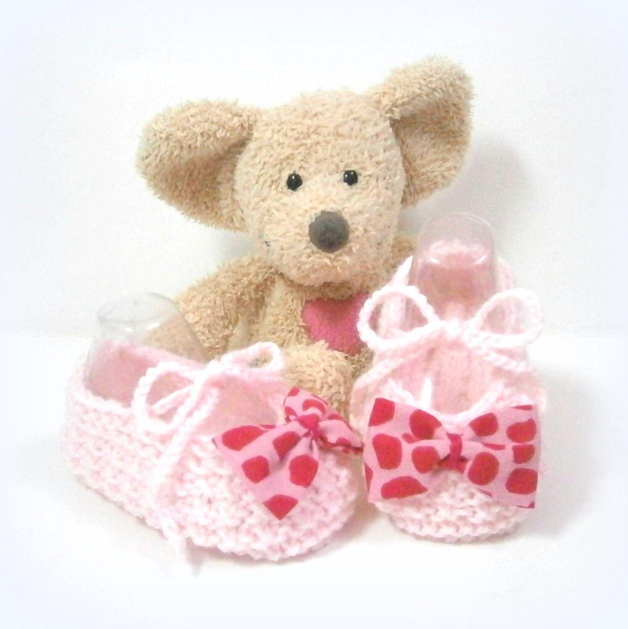 Chaussons bébé ballerines roses en mérinos noeud imprimé panthère rose et fuchsia taille 3 mois Tricotmuse : Mode Bébé par tricotmuse