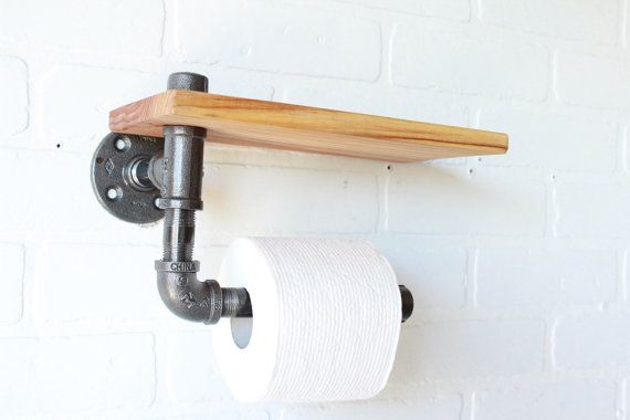 Red Wood Toilet Paper Holder and Shelf Rustic by CoronaConceptsCo