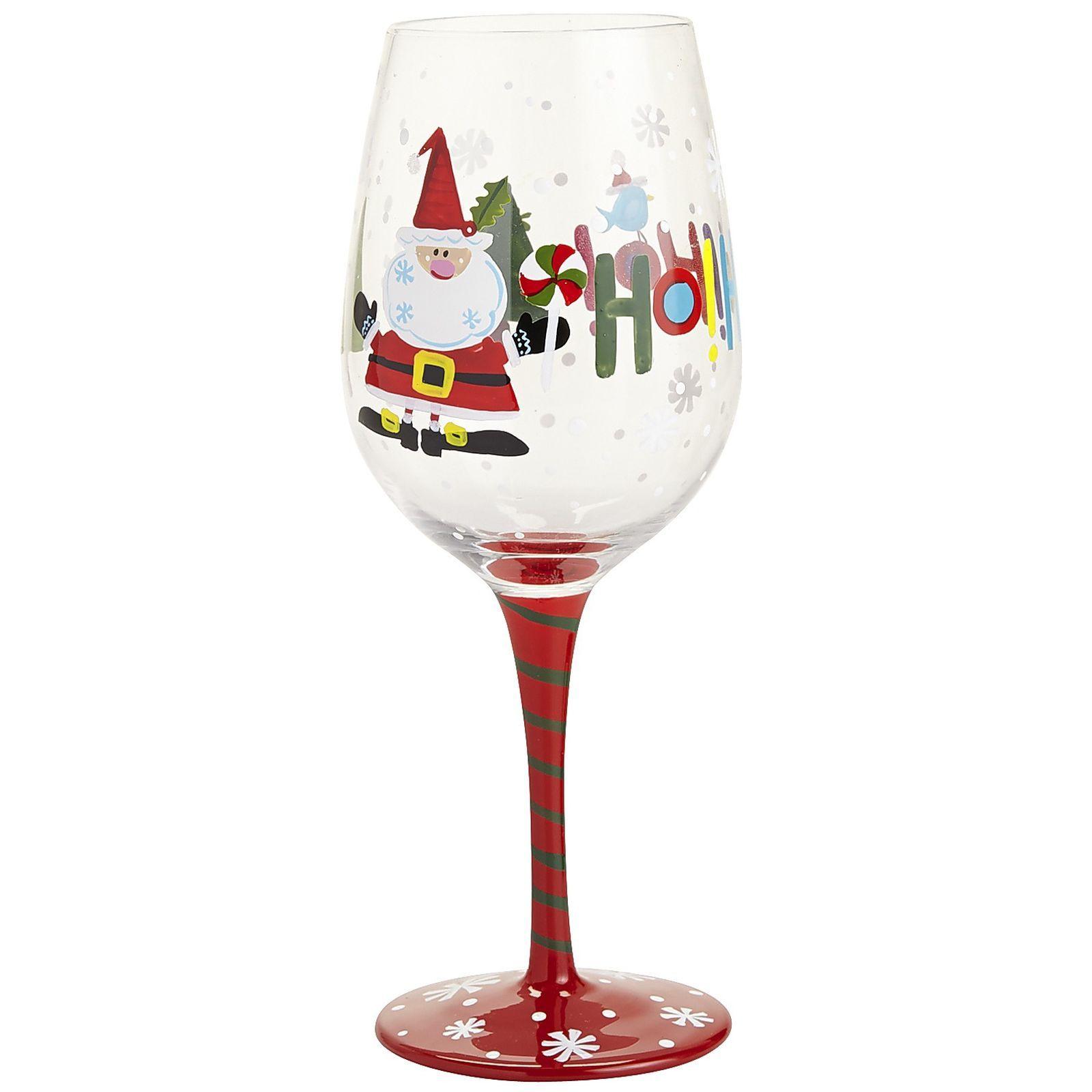 Santa Painted Wine Glass Wine Glass Painted Wine Glass Glass