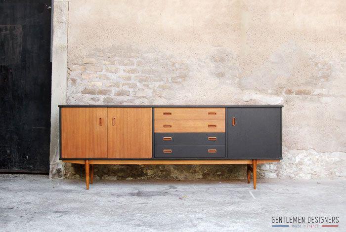gentlemen designers mobilier vintage made in france enfilade scandinave vintage en teck. Black Bedroom Furniture Sets. Home Design Ideas