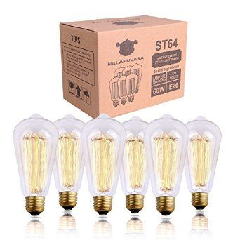 Edison Bulb, NALAKUVARA 60w Filament Long Life Vintage Antique Style Incandescent Clear Glass Light Squirrel Cage Design E26 E27 Medium Base Lamp (6 Pack) for Chandeliers Wall Sconces Pendant Lighting - - Amazon.com   Sale: 	$22.99
