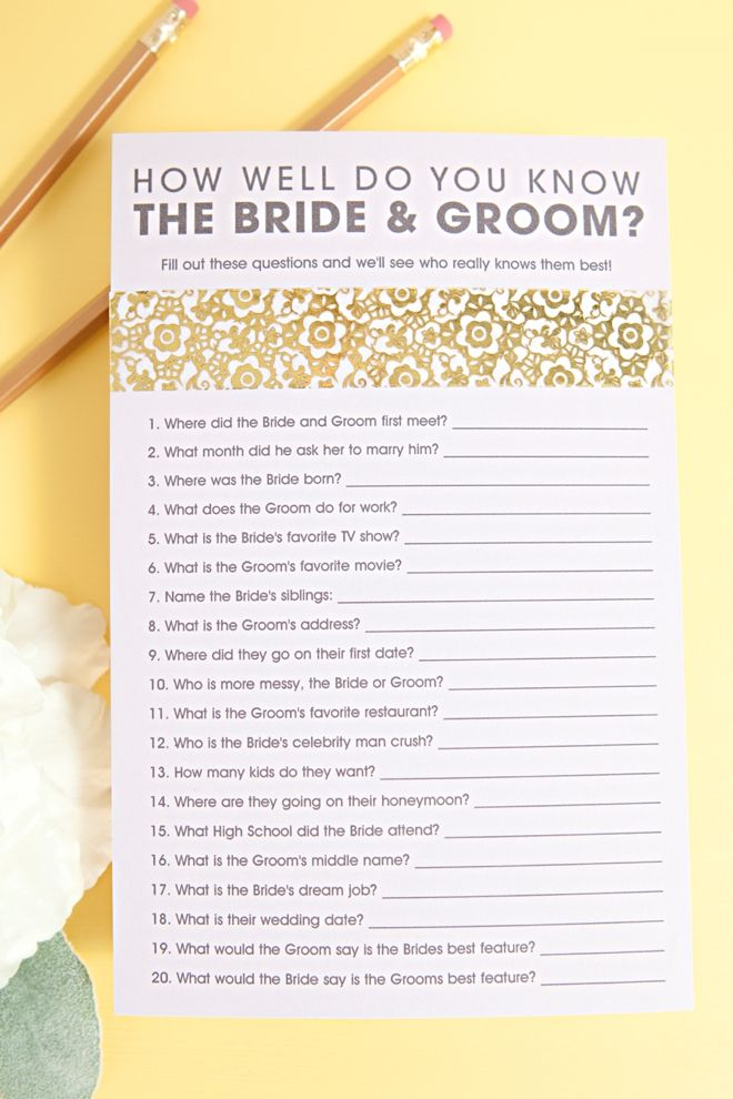 graphic about Free Printable Bridal Shower Games How Well Do You Know the Bride identified as Totally free How Effectively Do Yourself Realize The Bride Groom Activity! Do-it-yourself