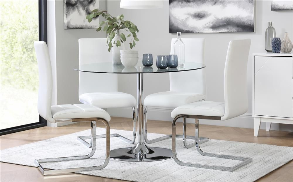 Orbit Round Chrome And Glass Dining Table With 4 Perth White